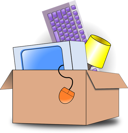 moving box with keyboard, lamp, computer