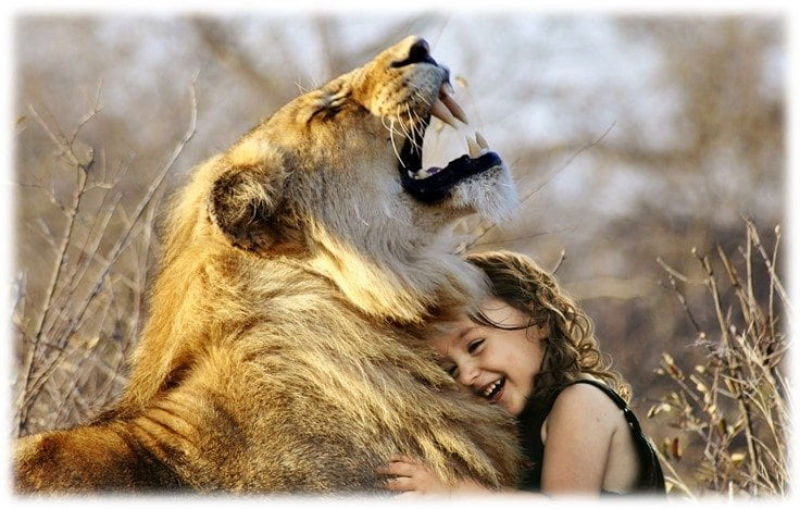 child smiling hugging a real lion outside in field