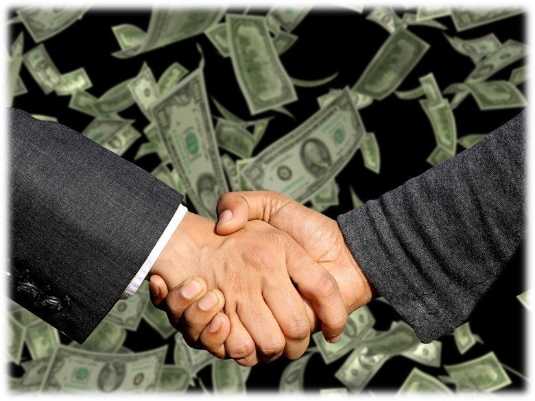 Two men shaking hands falling money - arbitration