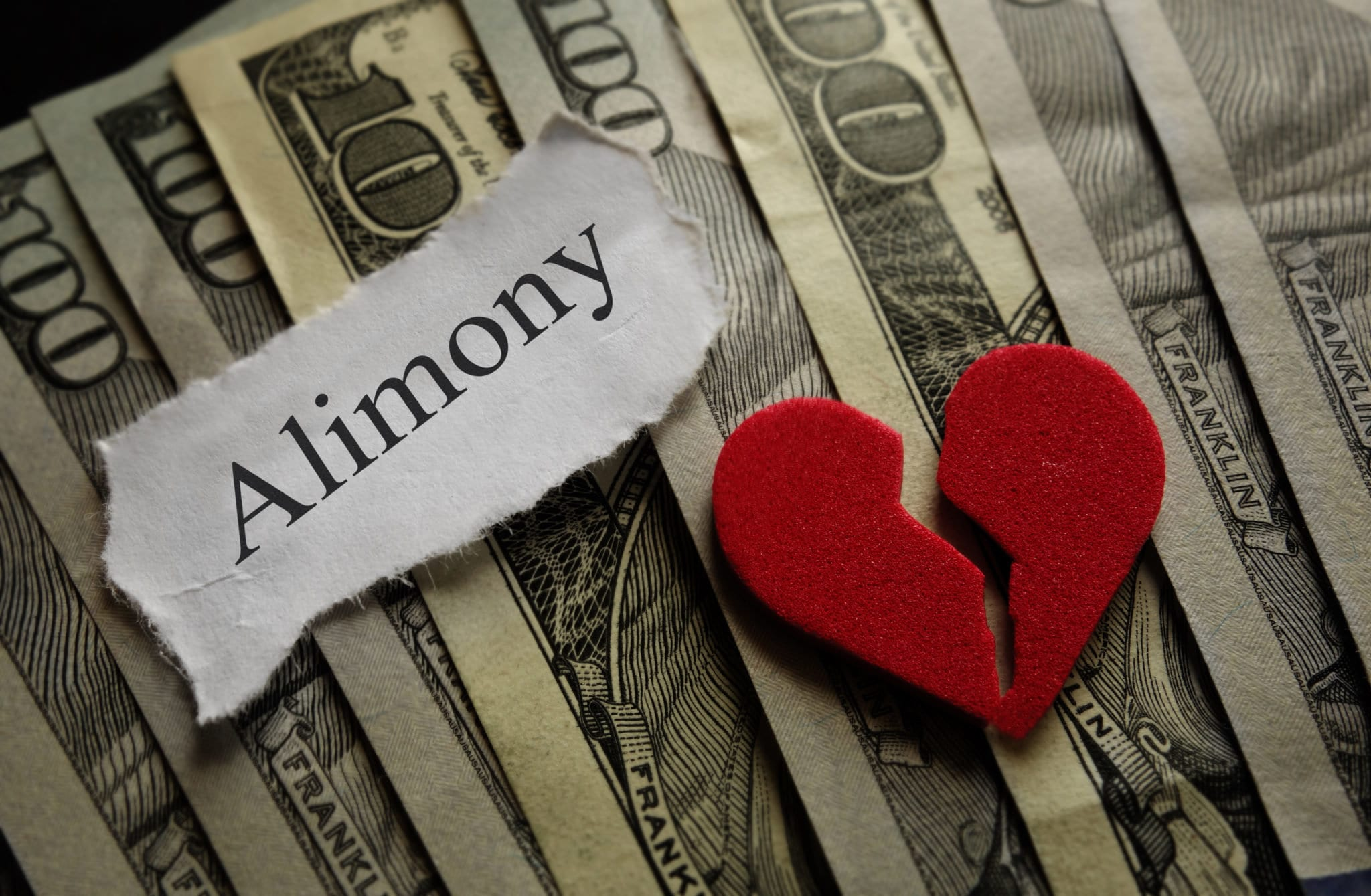 Hundred dollar bills with alimony sign and broken heart