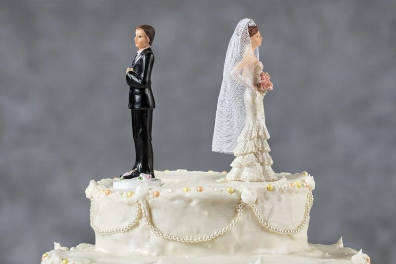 SC Divorce Plan - wedding cake with couple facing backwards